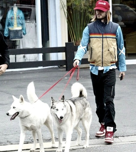Jared leto with his husky SKy