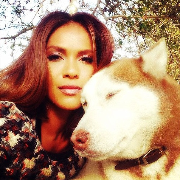 Lesley Ann with her beloved husky