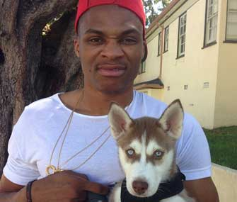 russell westbrook with his husky