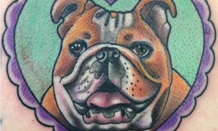 Heart-shaped english bulldog tattoo