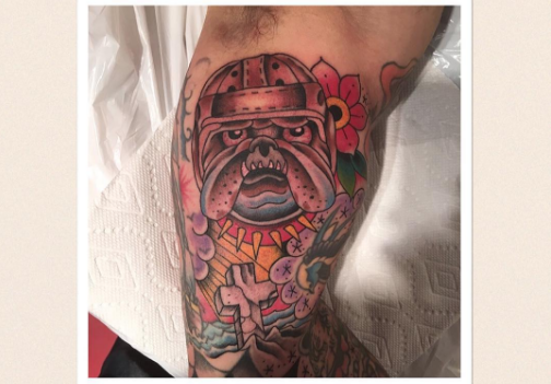 Interesting english bulldog tattoo idea
