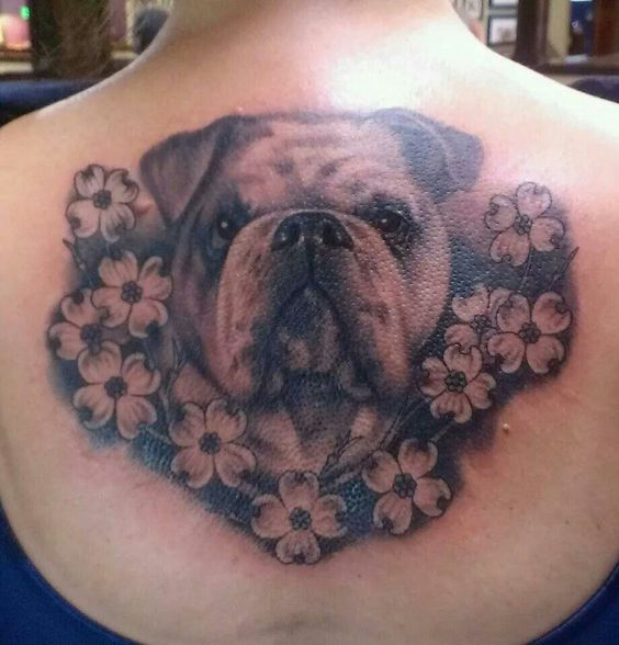 Bulldog with flowers tattoo