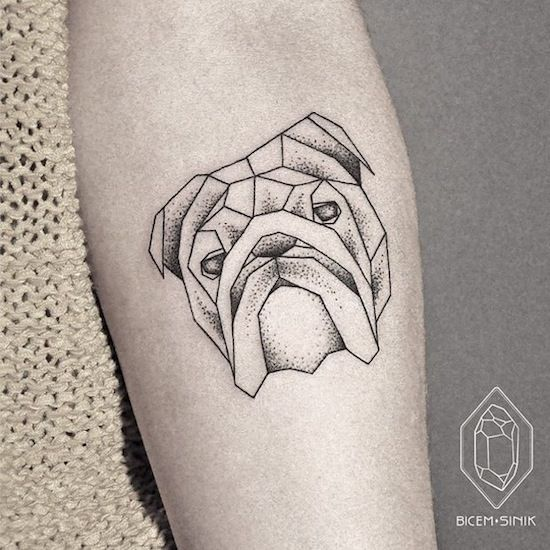 Geometric shaped bulldog tattoo