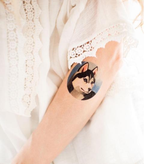 Minimal husky tattoo design