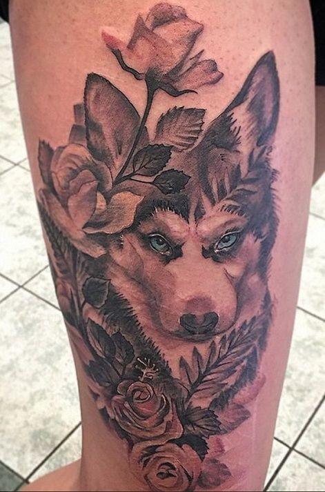 Another beautiful husky tattoo on leg