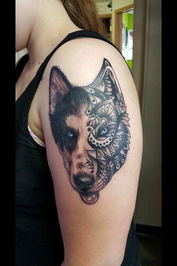 Husky tattoo on arm