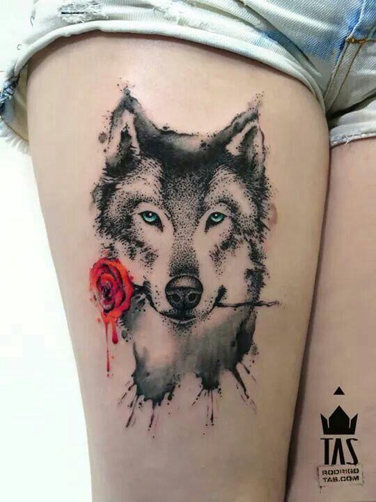 Husky tattoo on leg