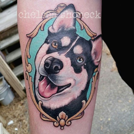Colorful husky tattoo design