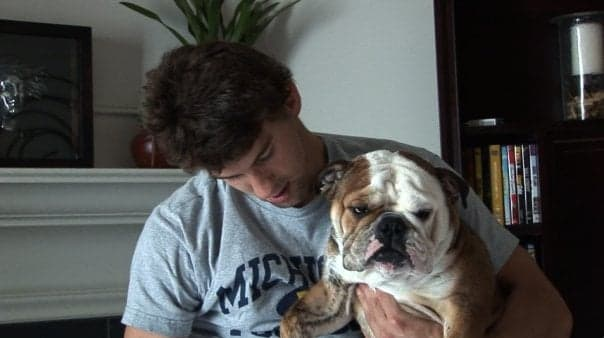 Michael Phelps shares a lot of time with his English Bulldog