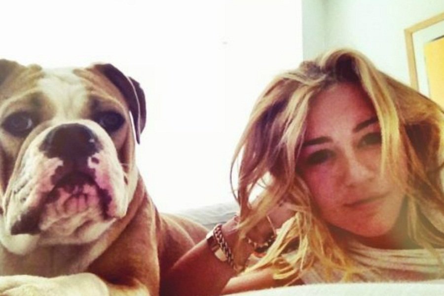 Cute selfie with Miley Cyrus and her bulldog