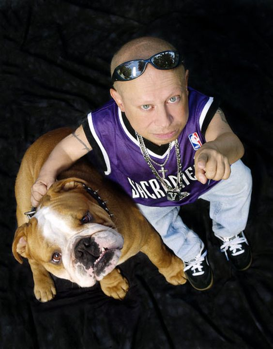 The shortest man on Hollywood has a special friend, an English Bulldog