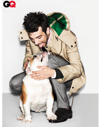 Cute picture of Jay Baruchel and his english bulldog