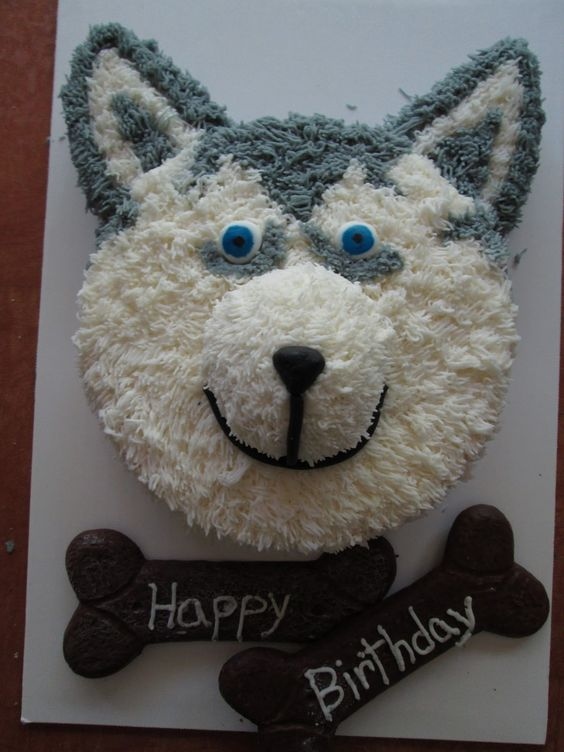 Cake in the shape of husky's head