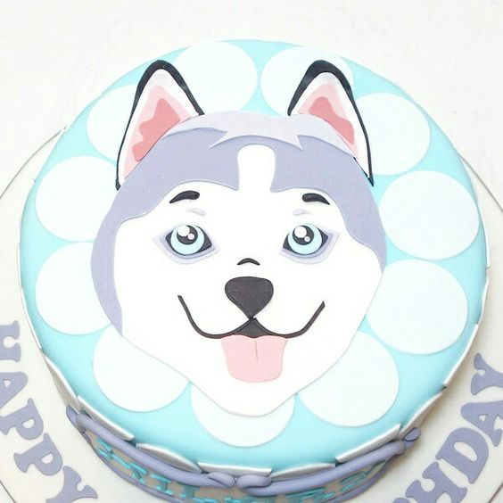 Beautiful simple design husky cake
