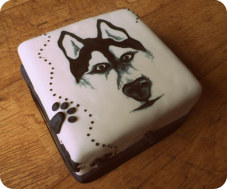 hand painted husky cake